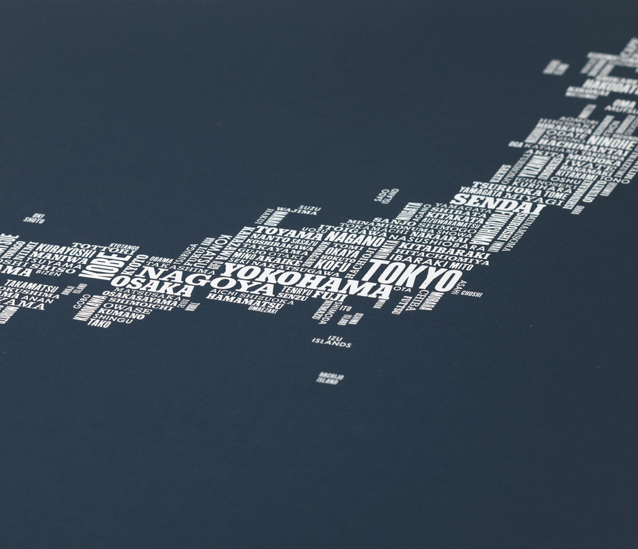Close up of Japan Type Map in Sheer Slate, screen printed poster