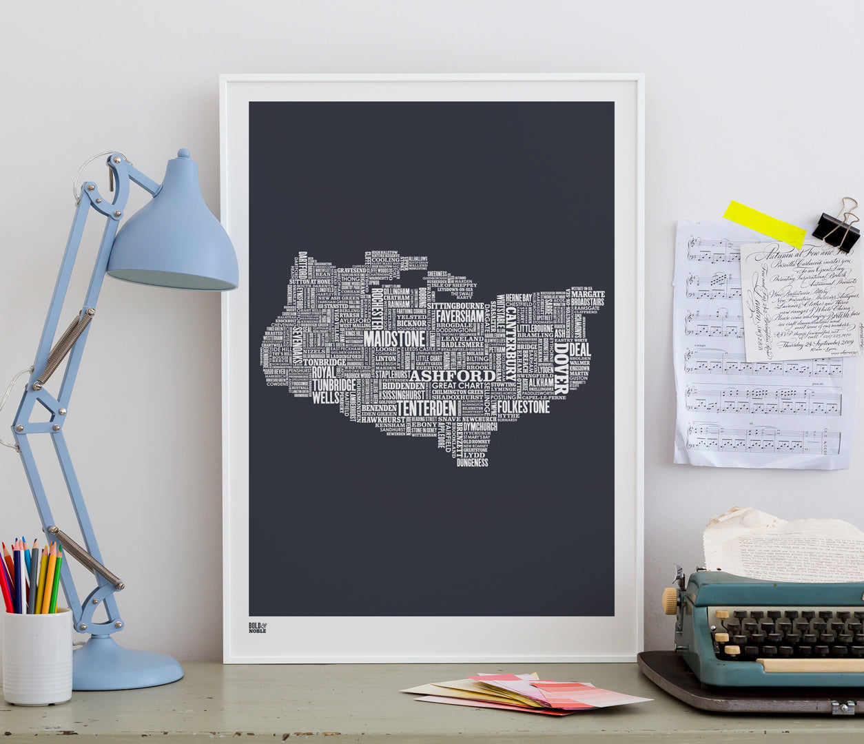 Pictures and Wall Art, Screen Printed Kent Type Map in Sheer Slate