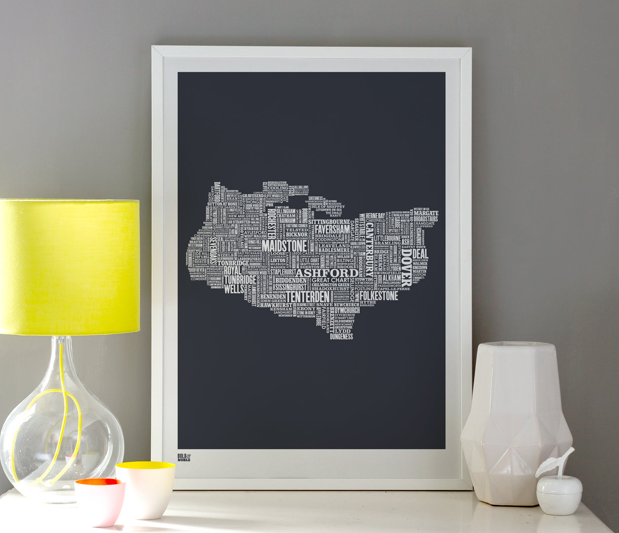 Wordle Kent Map Wall Art Print, Screen Printed Poster in Sheer Slate