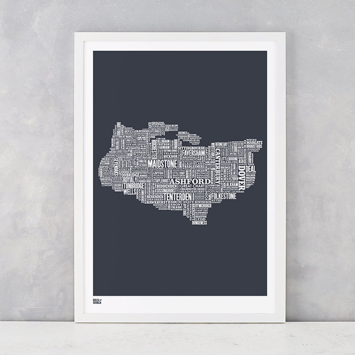 Kent Type Map in Sheer Slate, screen printed on recycled card, delivered worldwide