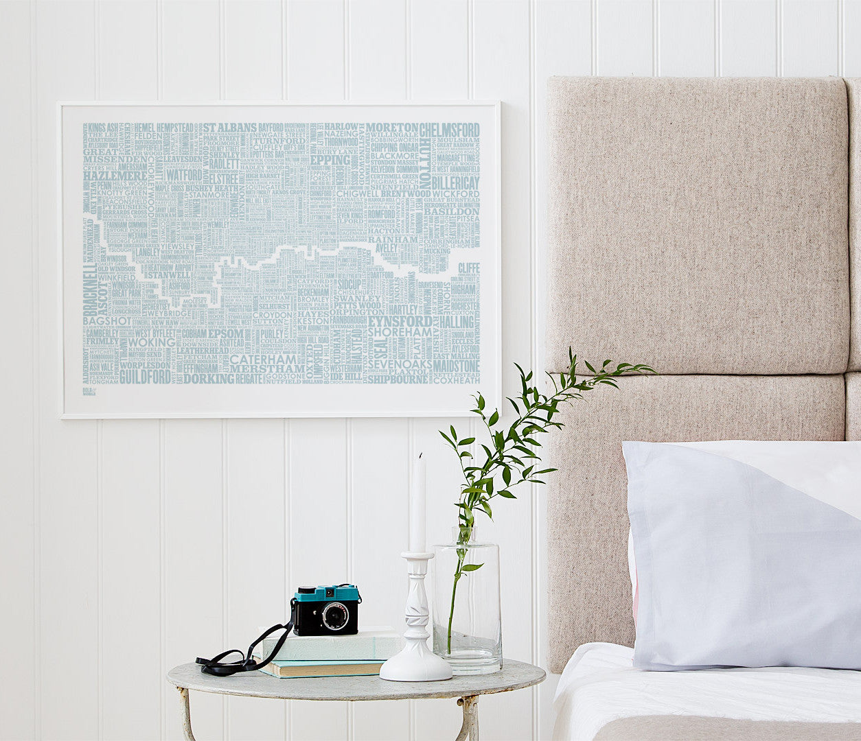 'London and Beyond' Type Map Print in Duck Egg Blue