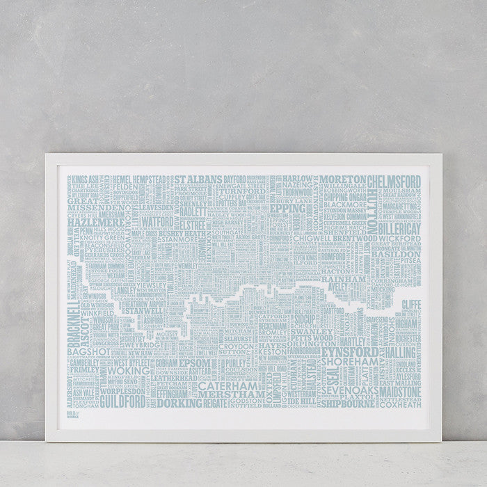 London and Beyond Type Map Print in Duck Egg Blue, screen printed onto recycled card, deliver worldwide