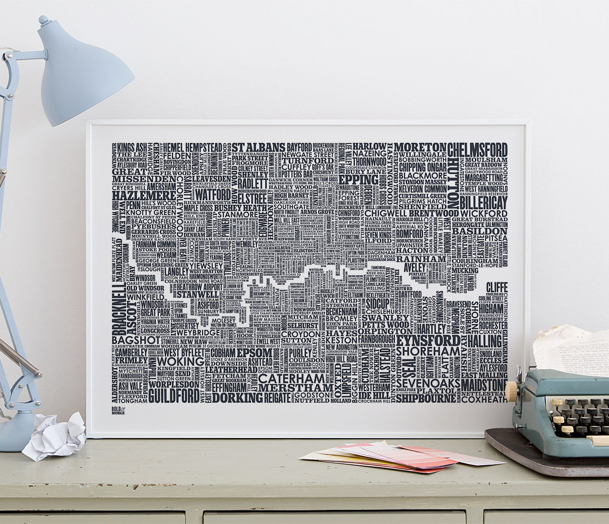 Wall Art Ideas: Economical Screen Prints, London and Beyond Type Map printed in sheer slate