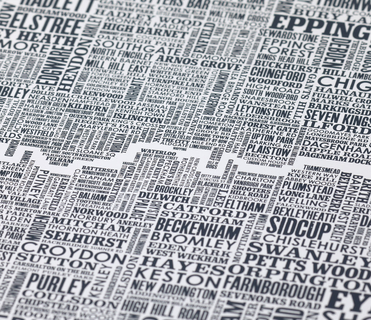 'London and Beyond' Type Map Print in Sheer Slate