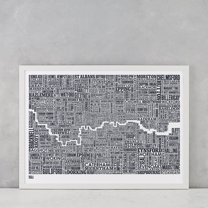 London and Beyond Type Map Print in sheer slate, screen printed onto recycled card, deliver worldwide