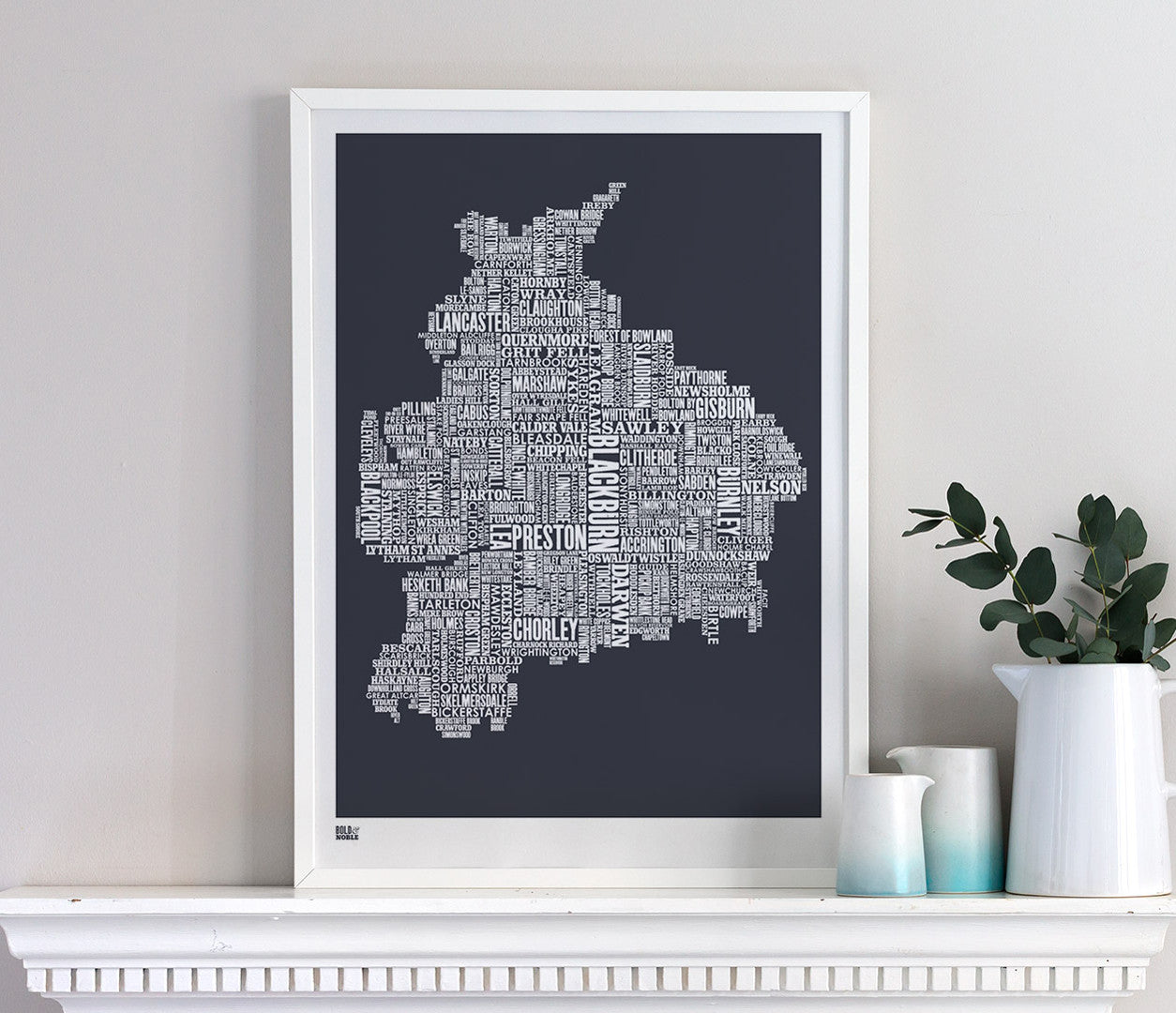 Wordle Lancashire Map Wall Art Print, Screen Printed Poster in Sheer Slate