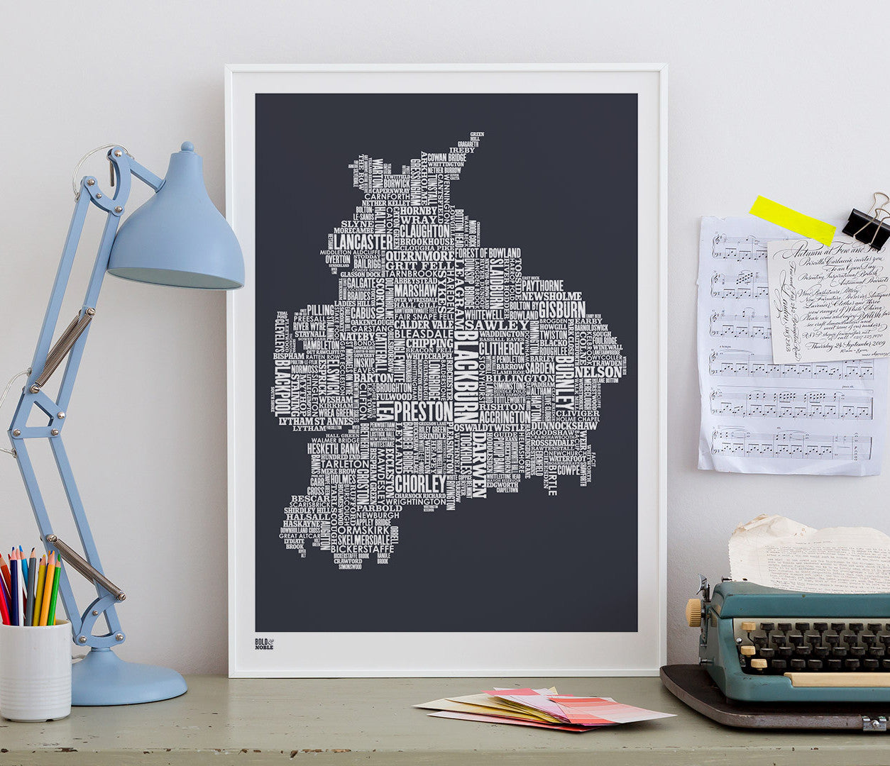 Pictures and Wall Art, Screen Printed Lancashire Type Map in Sheer Slate