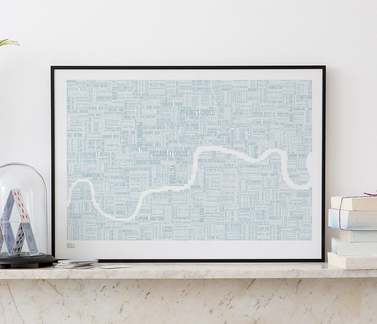 'London' Type Map Print in Duck Egg Blue