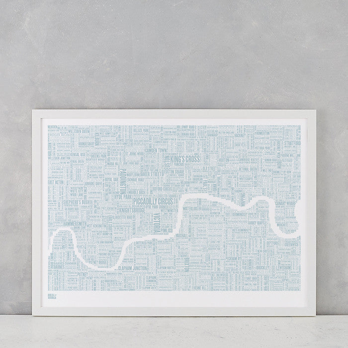 London Type Map Print in Duck Egg Blue, screen printed onto recycled card, deliver worldwide