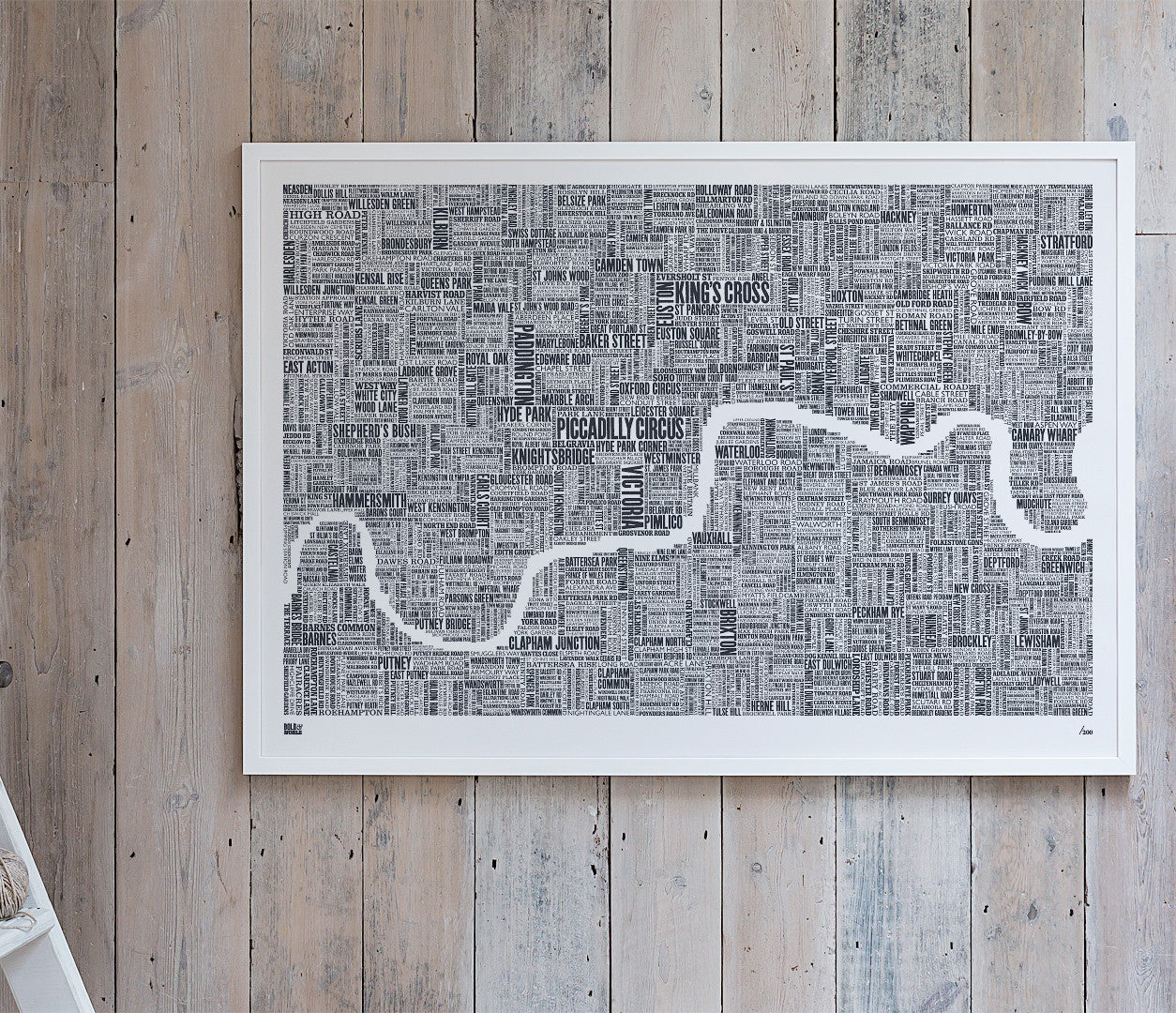 Wall Art Ideas: Economical Screen Prints, London Type Map Limited Edition XL in sheer slate