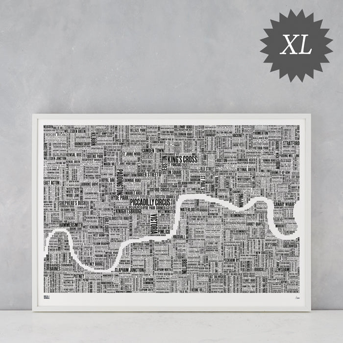 London Limited Edition XL Type Map in Sheer Slate, delivered worldwide