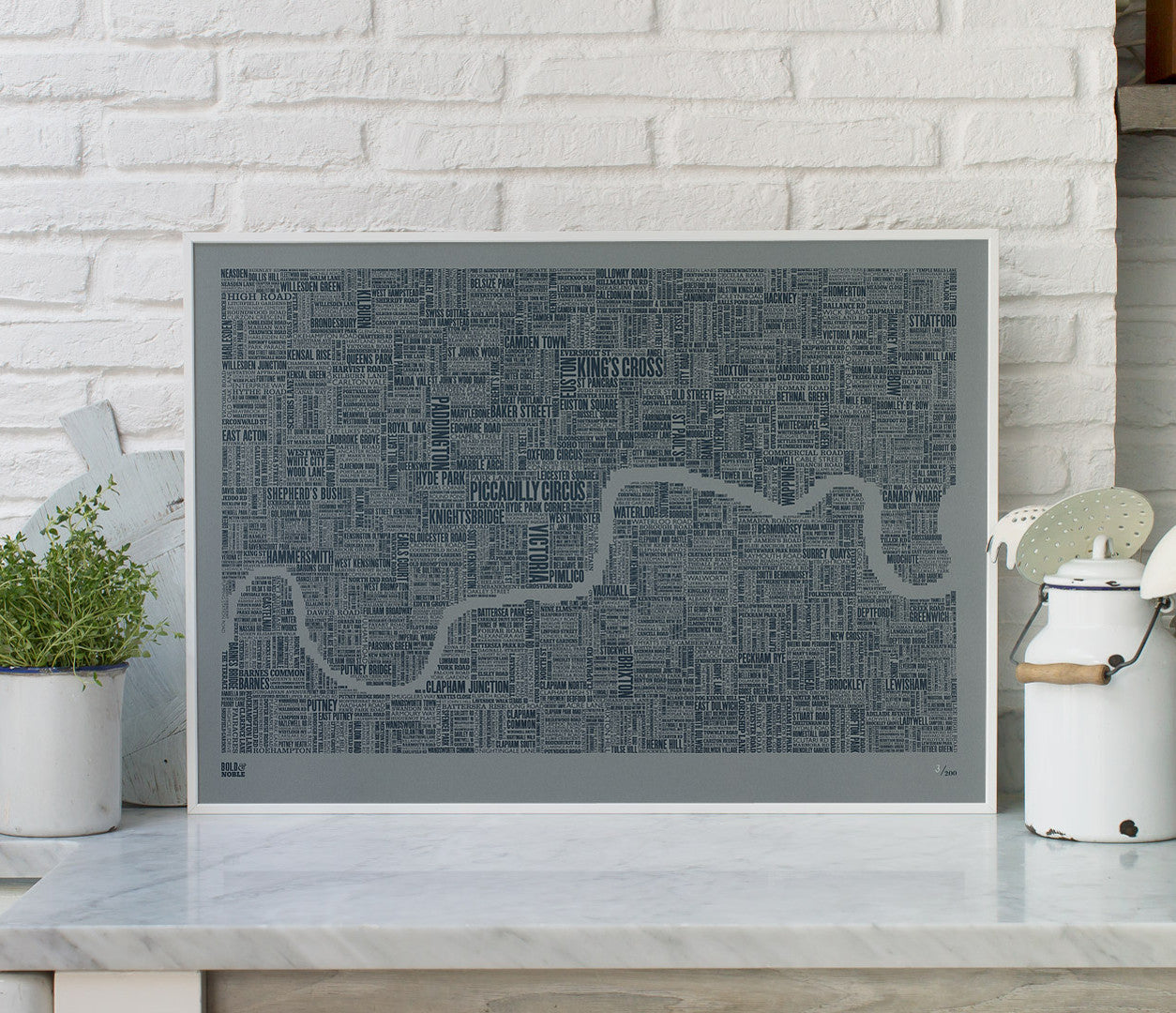 Wall Art Ideas: Economical Screen Prints, London Limited Edition Type Map in slate on grey card