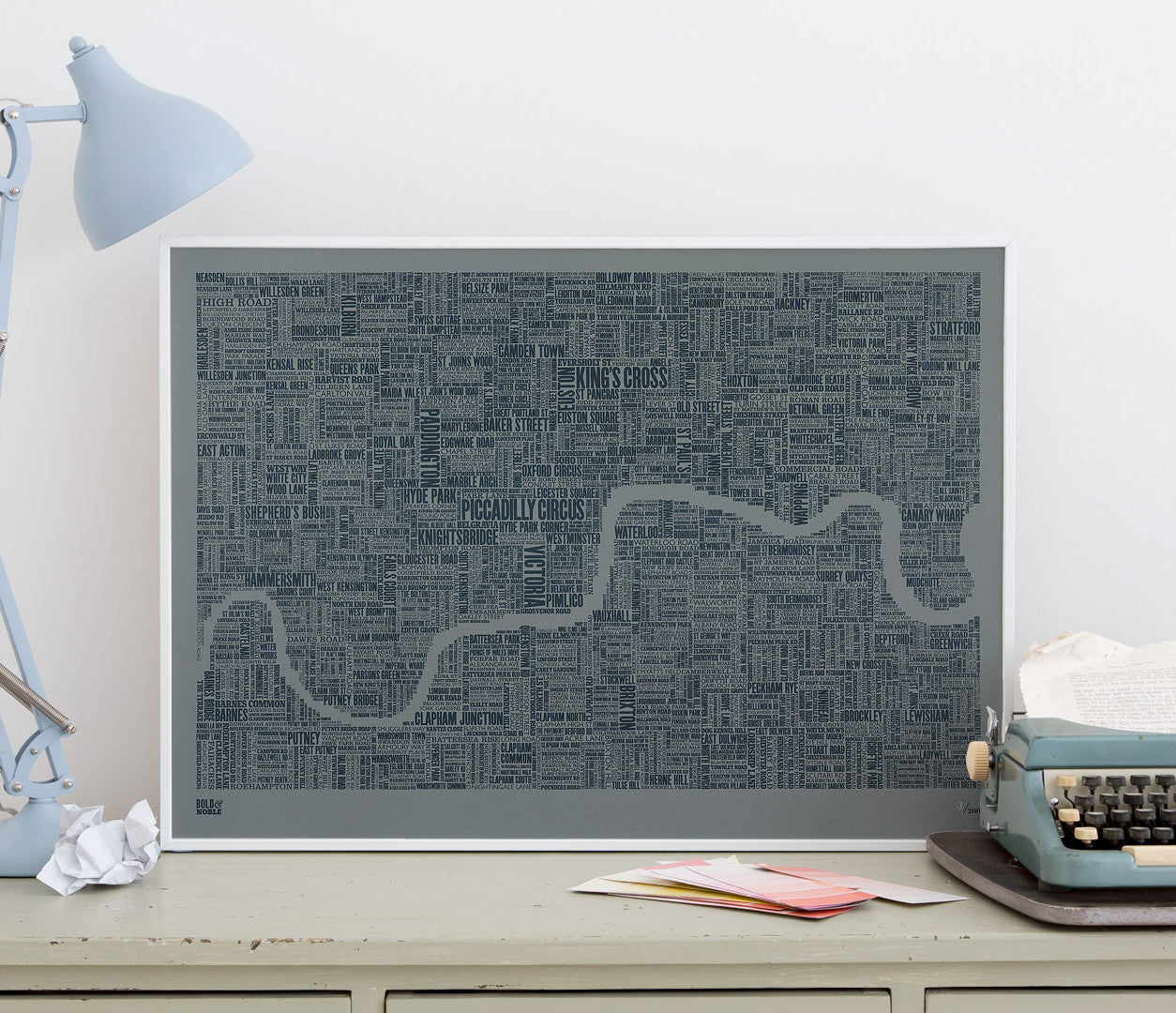 Wordle Map of London Art Print, screen print on grey card
