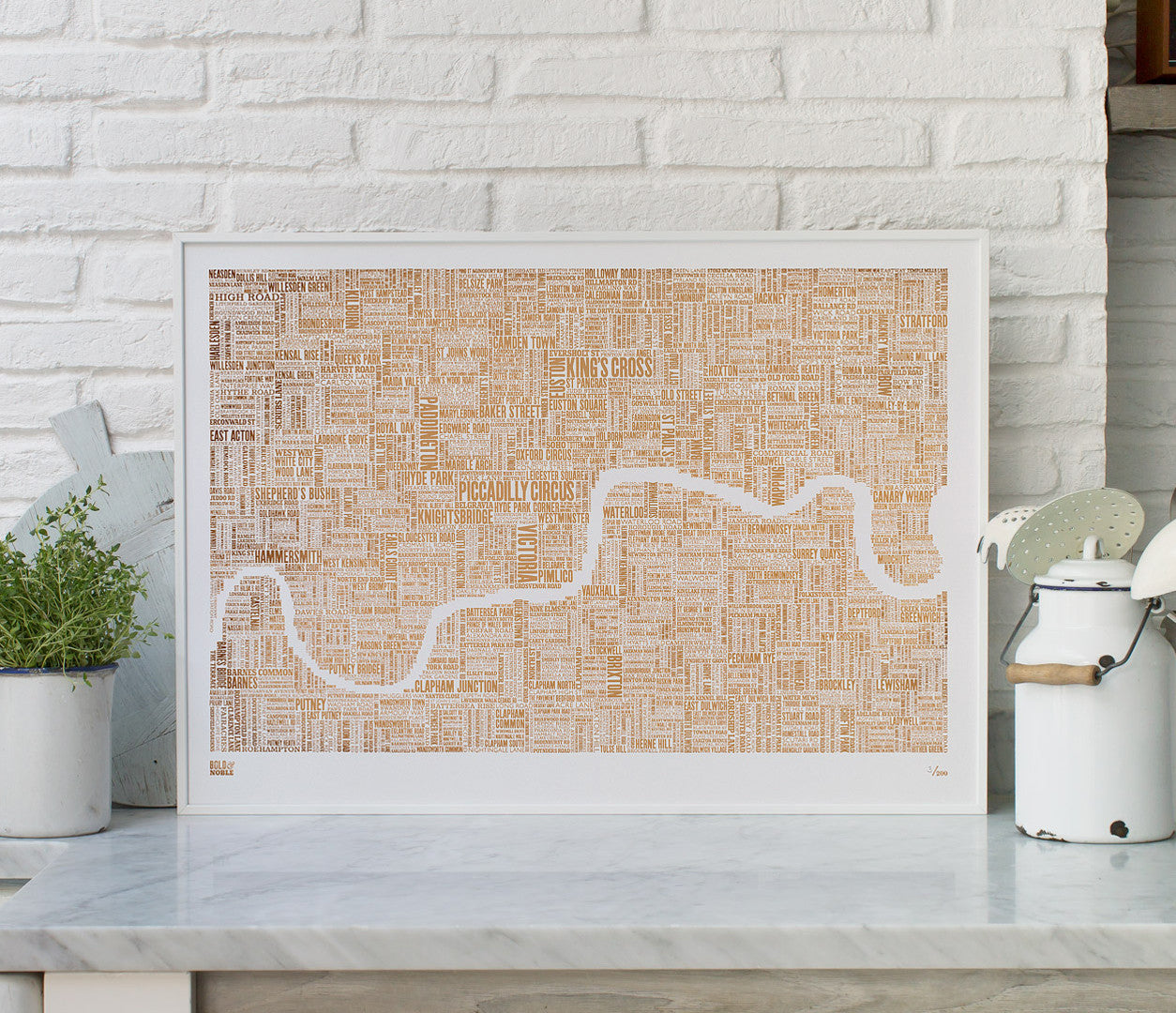 Wall Art Ideas: Economical Screen Prints, London Limited Edition Foil Blocked Type Map in Bronze