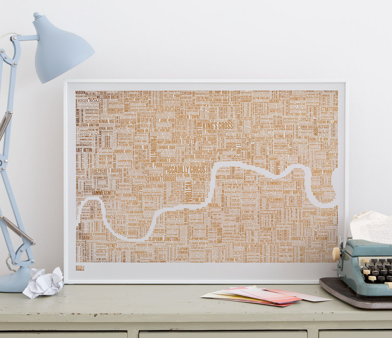 Wordle Map of London Art Print, Foil Blocked in Bronze