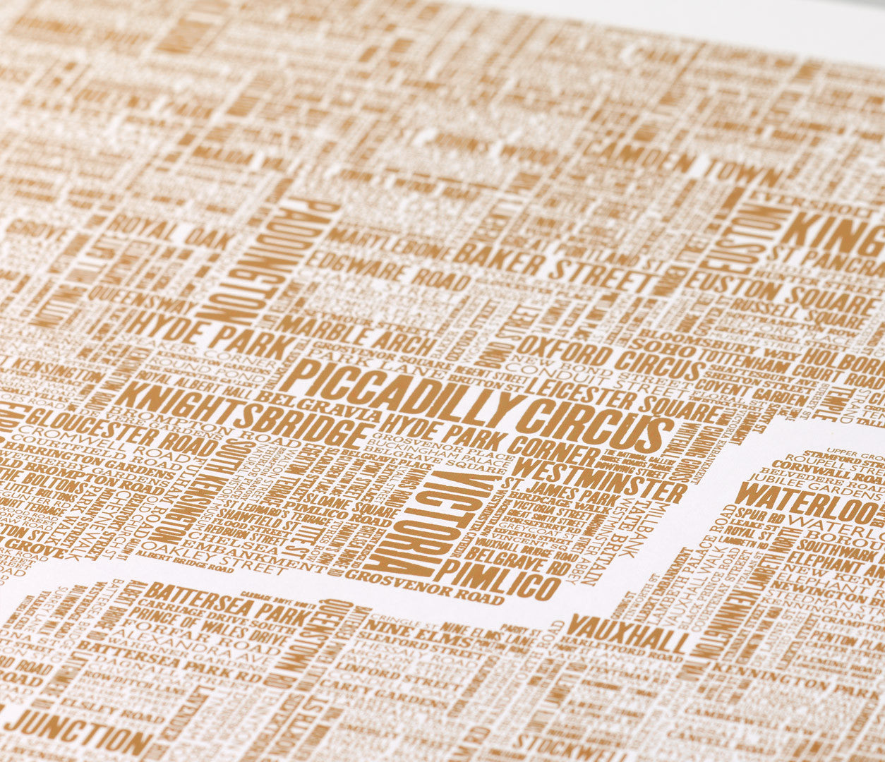 Close up of London Type Map Foil Blocked Limited Edition Print in Bronze