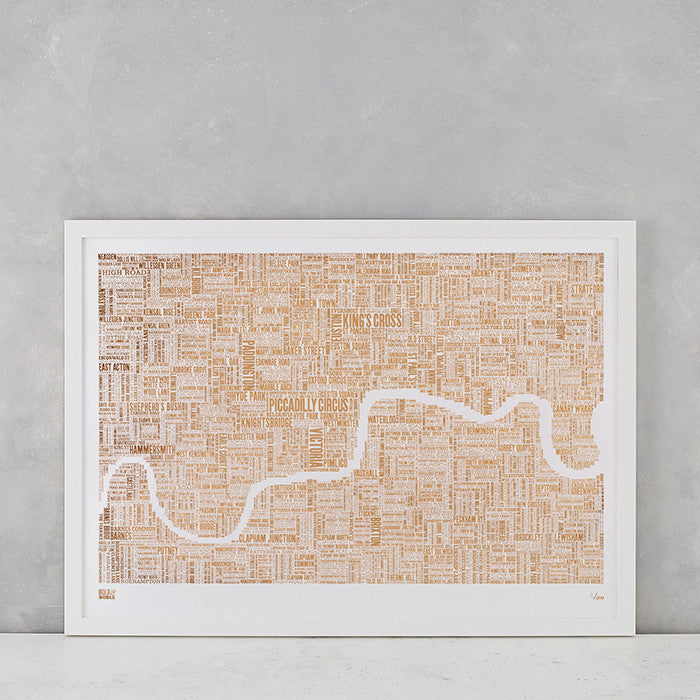 London Limited Edition Foil Blocked Type Map in Bronze, delivered worldwide