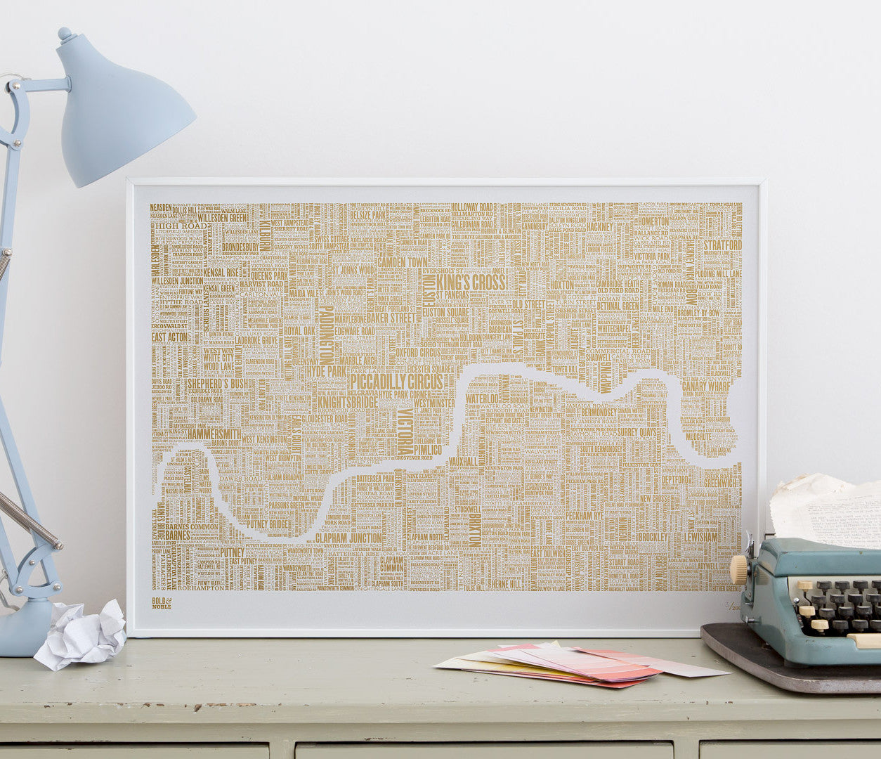 Wall Art Ideas: Economical Screen Prints, London Limited Edition Foil Blocked Type Map in Gold