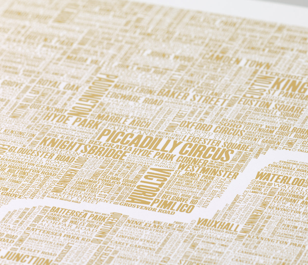 Close up of London Type Map Foil Blocked Limited Edition Print in Gold