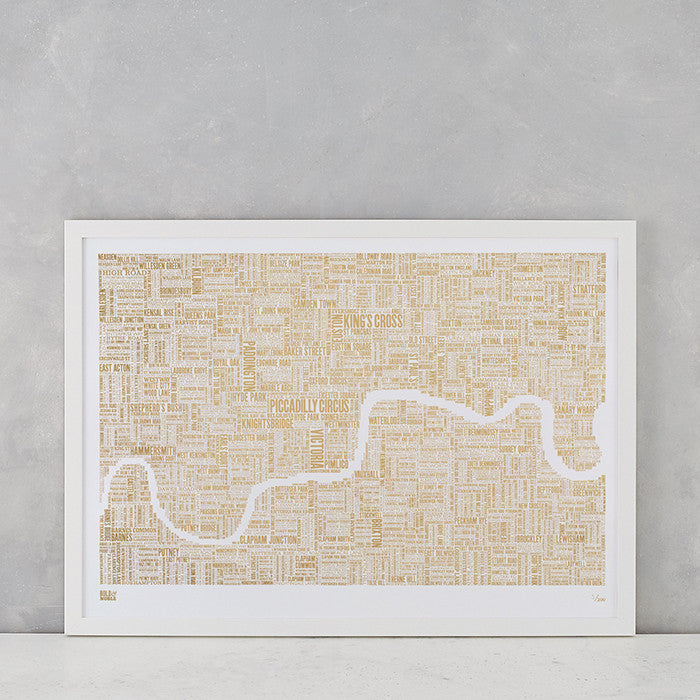 London Limited Edition Foil Blocked Type Map in Gold, delivered worldwide
