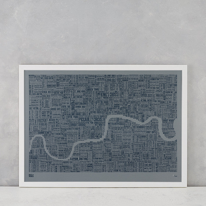 London Type Map Limited Edition in slate on grey card, screen printed onto recycled card, deliver worldwide