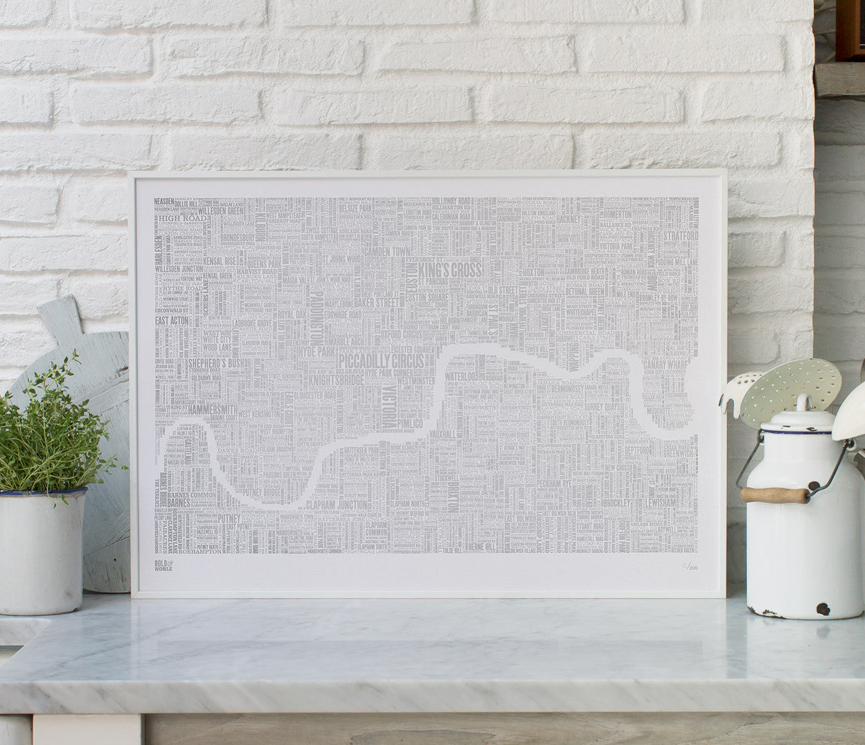 Wall Art Ideas: Economical Screen Prints, London Limited Edition Foil Blocked Type Map in Silver