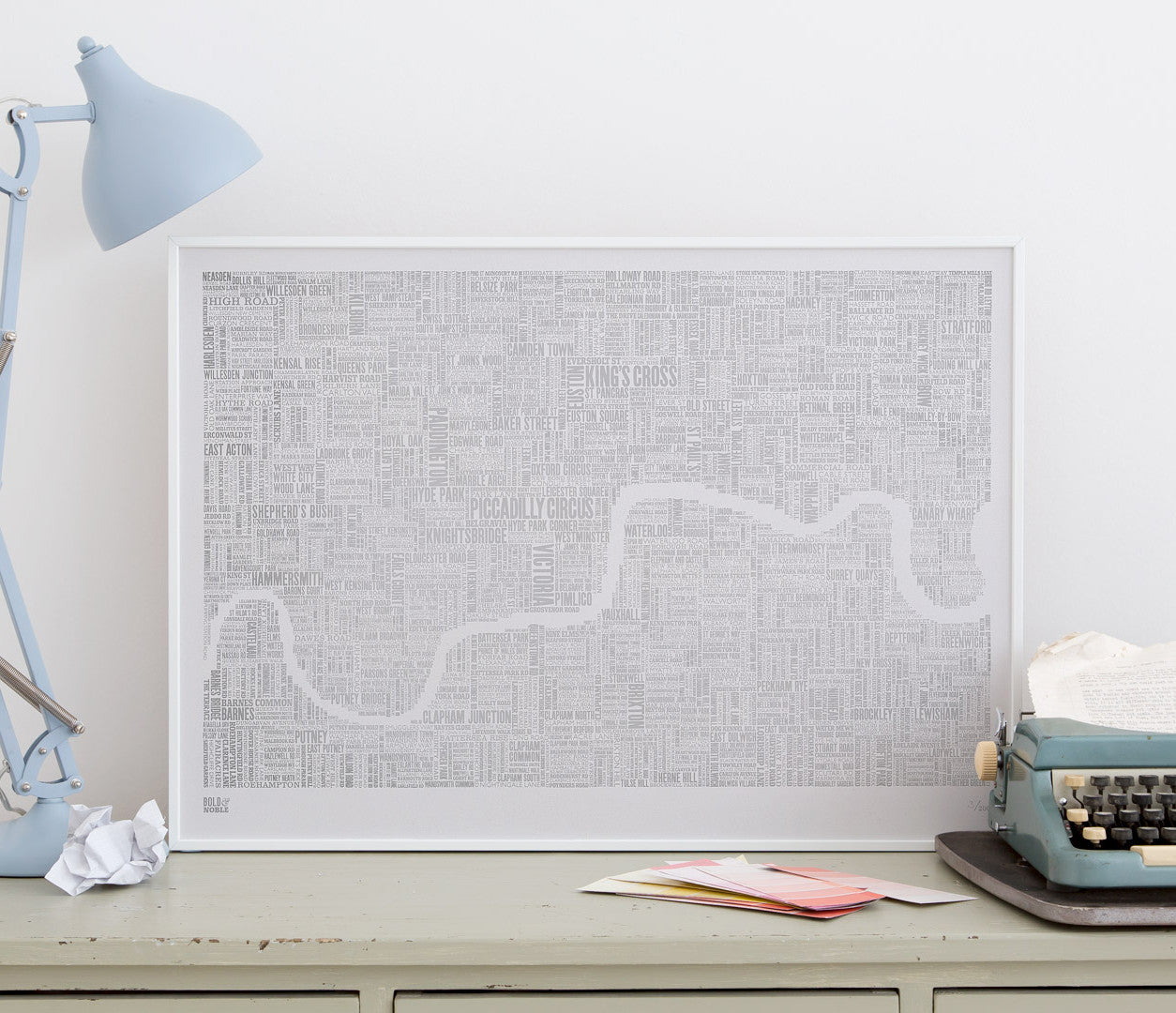 Wordle Map of London Art Print, Foil Blocked in Silver