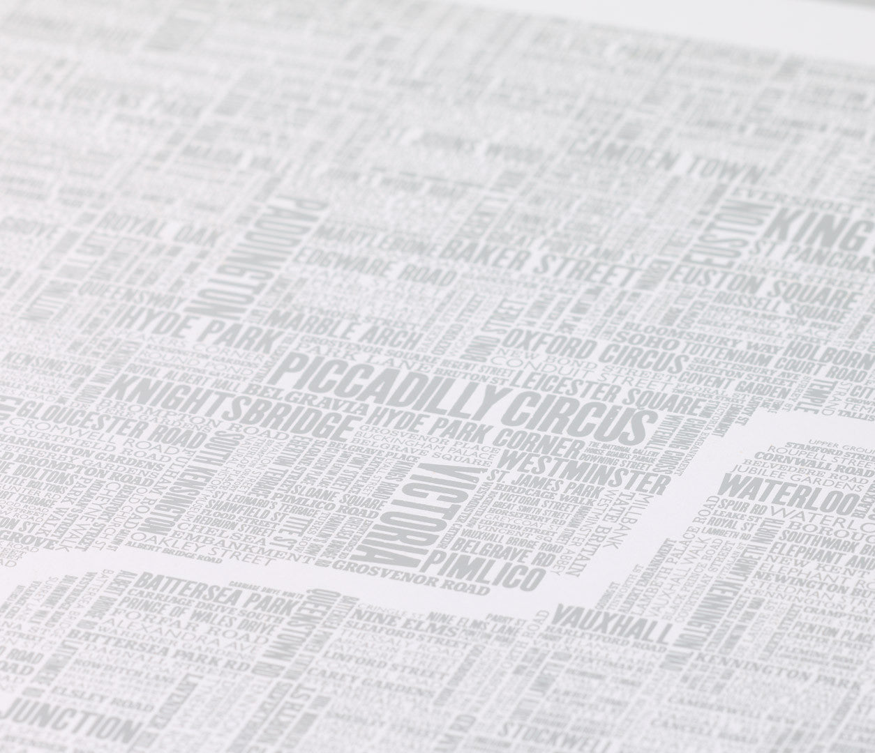 Close up of London Type Map Foil Blocked Limited Edition Print in Silver