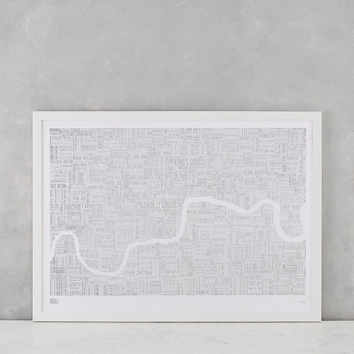 London Limited Edition Foil Blocked Type Map in Silver, delivered worldwide