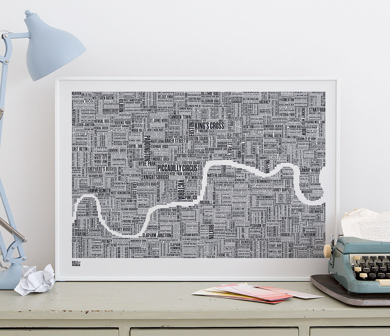 Wordle Map of London Art Print, screen print on recycled card