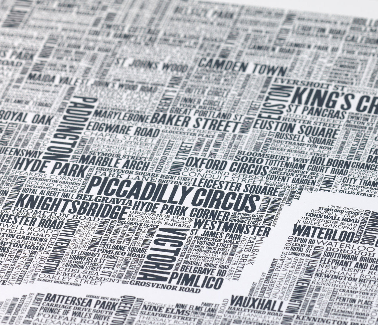 Close up of London Type Map Print on recycled card