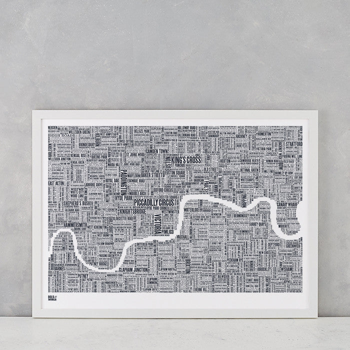 London Type Map Print in sheer slate, screen printed onto recycled card, deliver worldwide