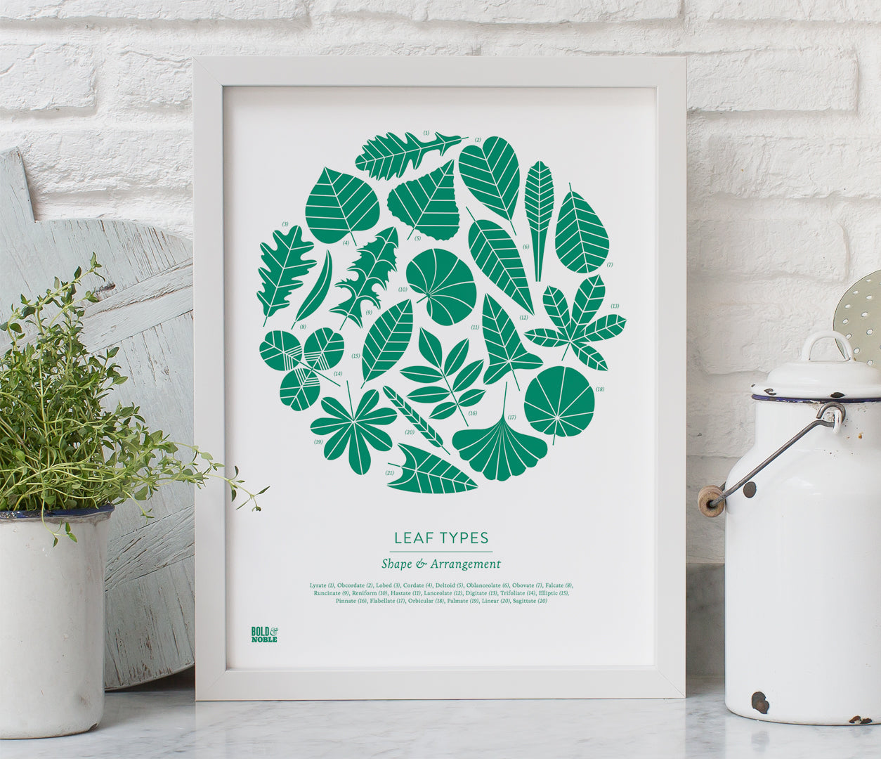 Pictures and Wall Art, Screen Printed Leaf Types Print in Emerald Green