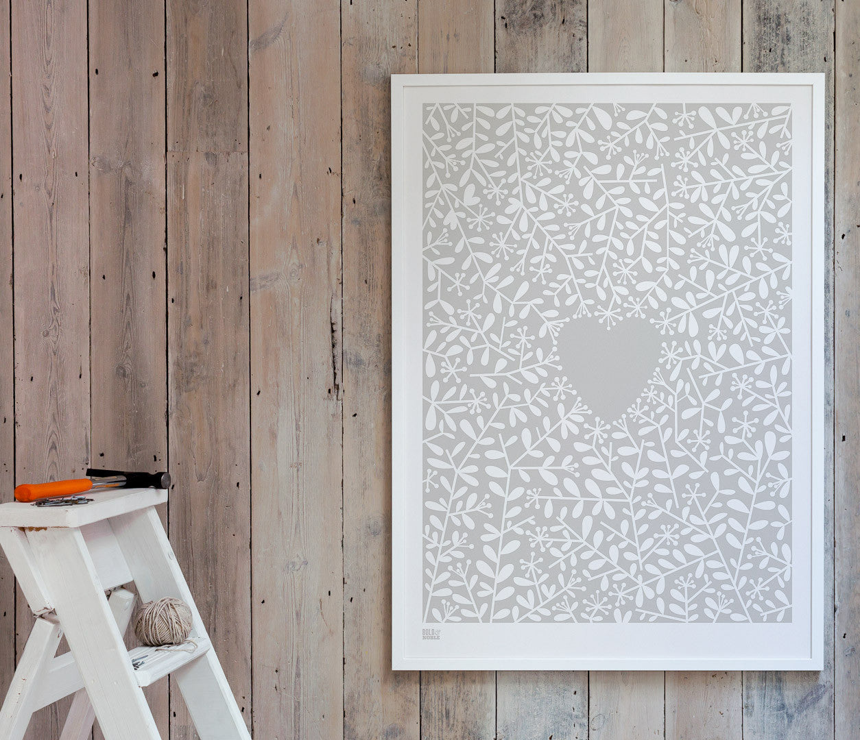 'Love Grows' Art Print in Chalk Grey