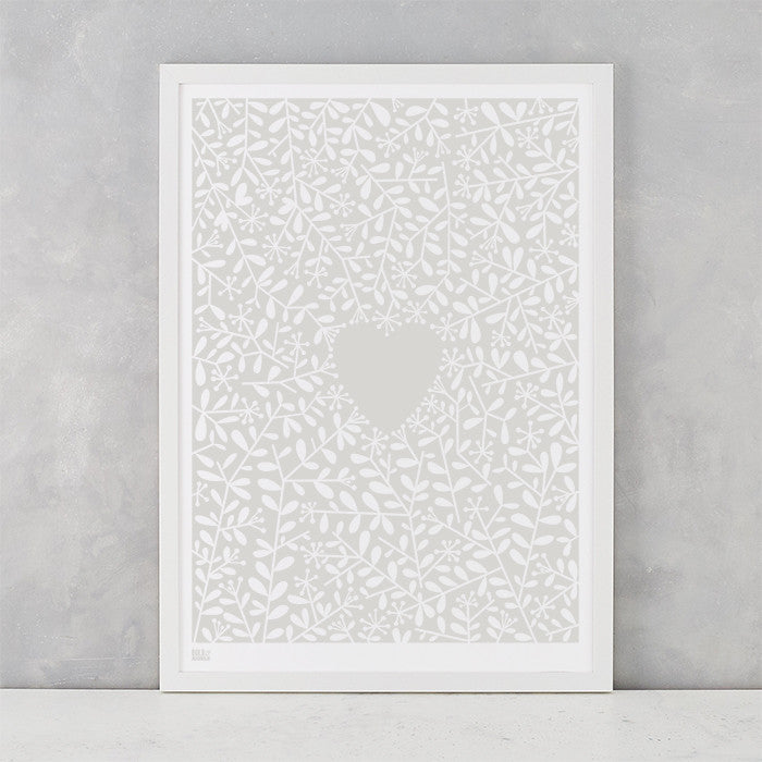Love Grows Print in Chalk Grey, screen printed onto recycled card, deliver worldwide