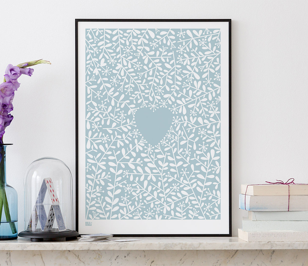 Wall Art Ideas: Economical Screen Prints, Love Grows Print in Duck Egg Blue