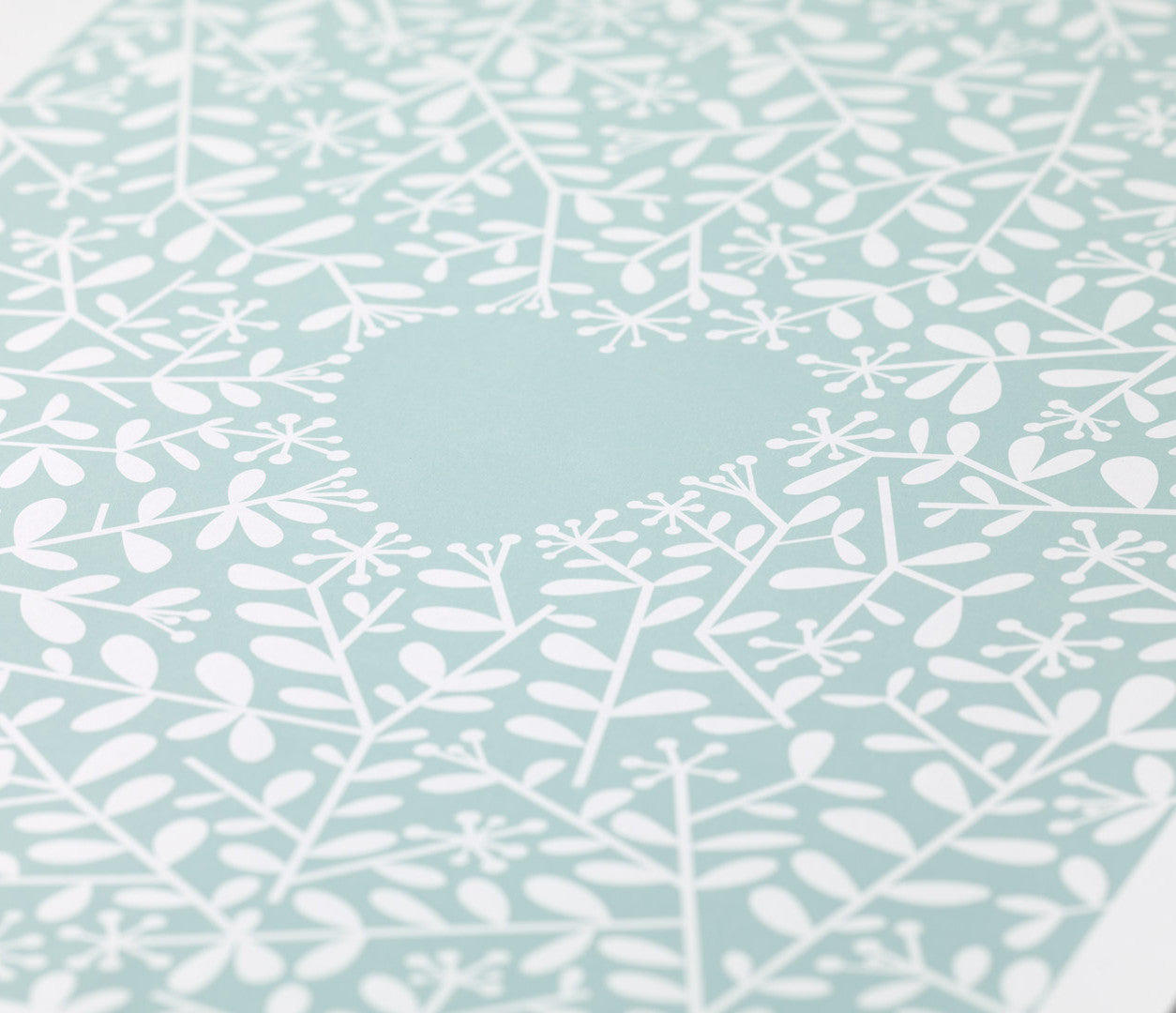 Close up of Love Grows Print in Duck Egg Blue
