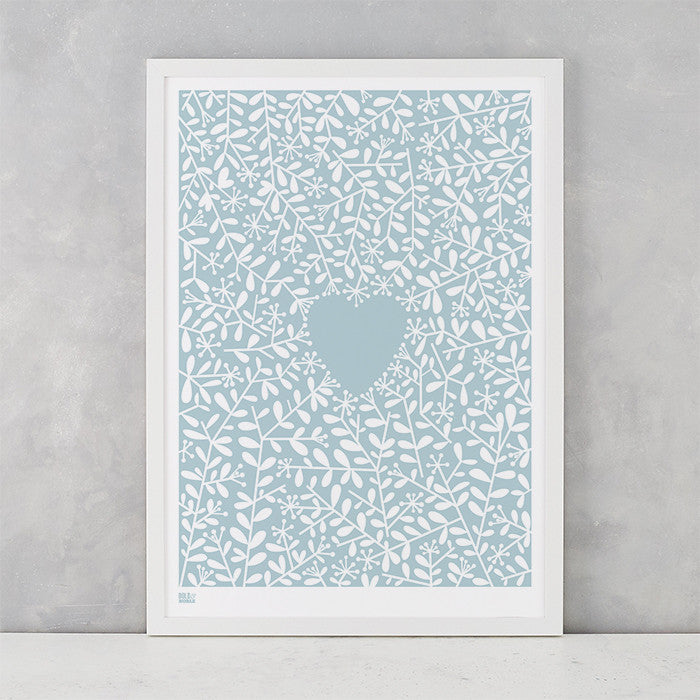 Love Grows Print in Duck Egg Blue, screen printed onto recycled card, deliver worldwide