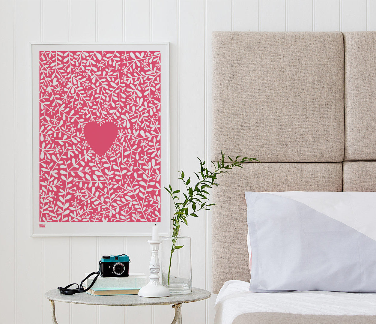 Wall Art Ideas: Economical Screen Prints, Love Grows Print in Raspberry Sorbet