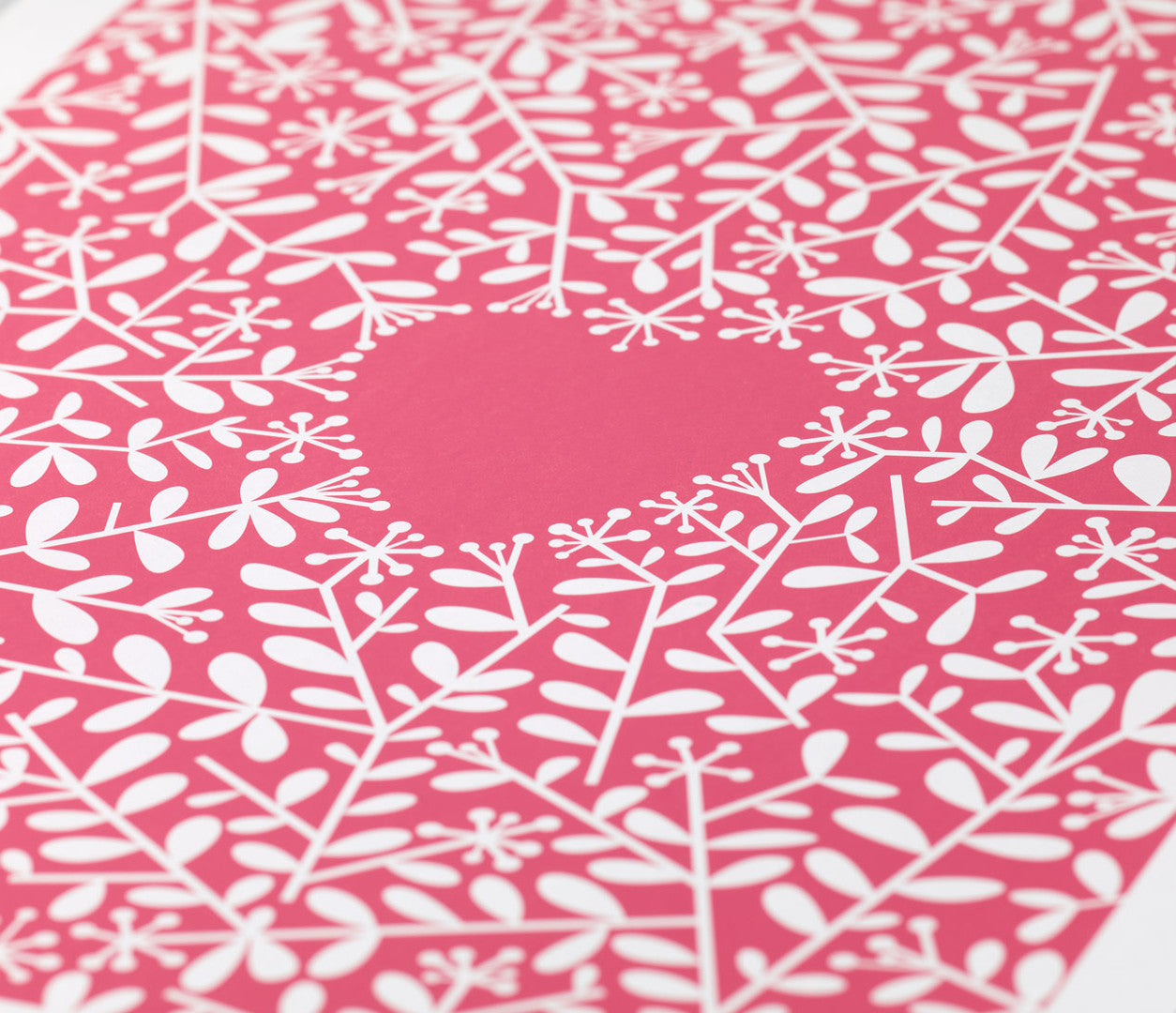 Close up of Love Grows Print in Raspberry Sorbet