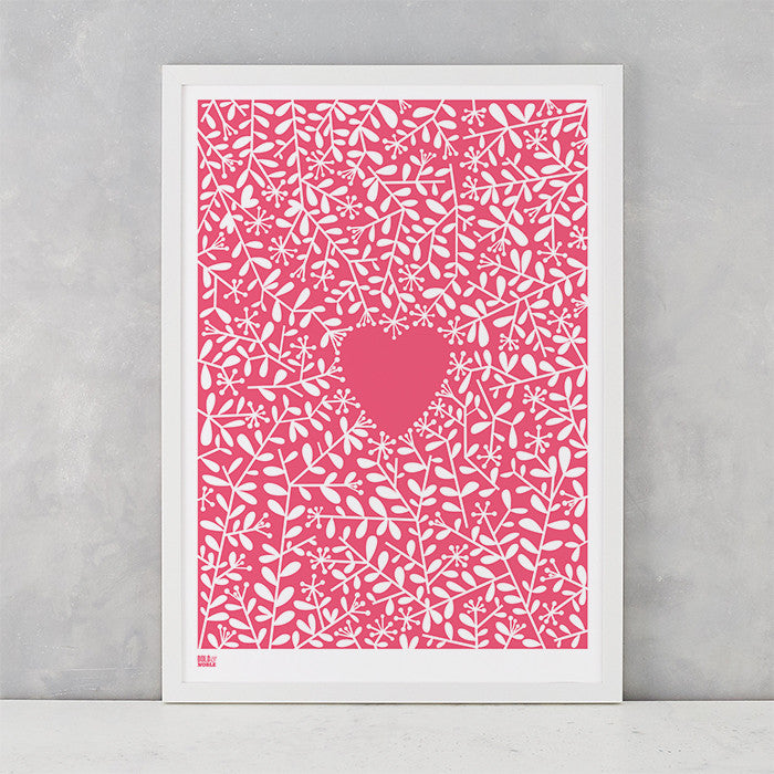 Love Grows Print in Raspberry Sorbet, screen printed onto recycled card, deliver worldwide