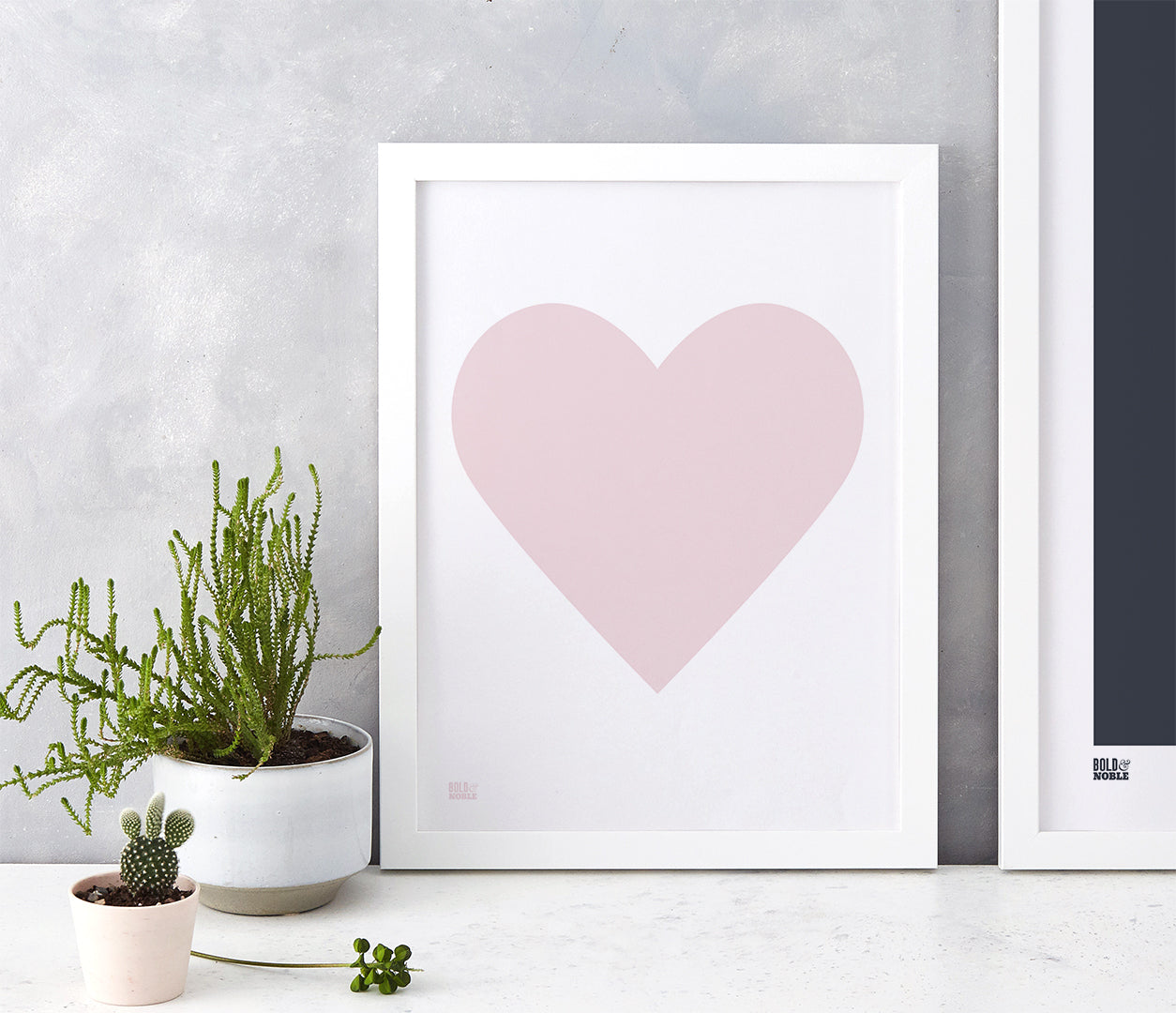 Love Heart Print, Pink Blush on White