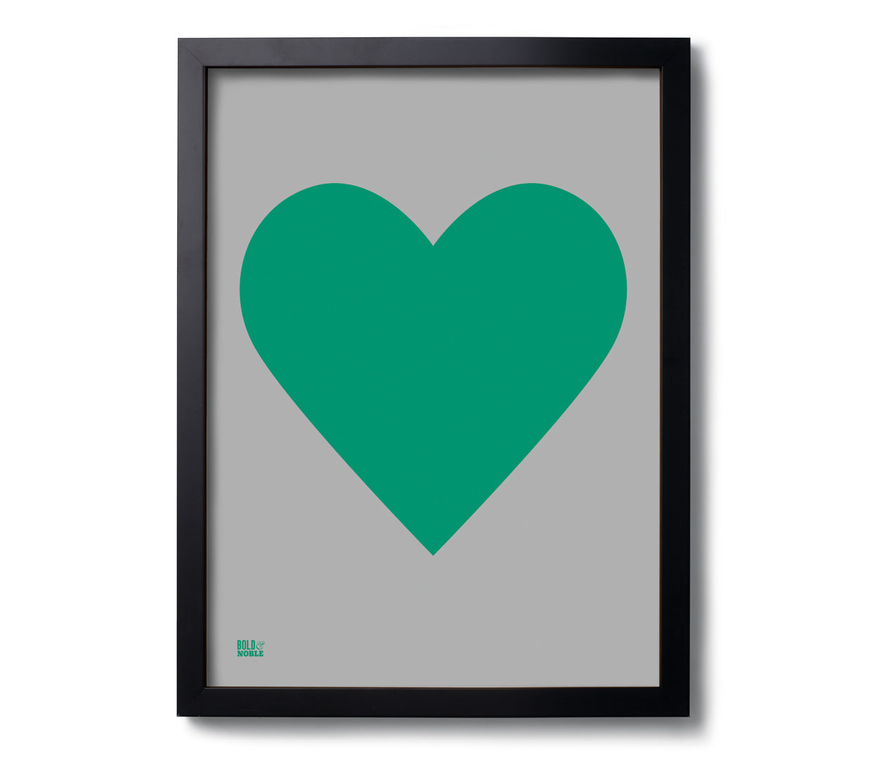 Love Heart Print, Emerald Green on Dark Grey
