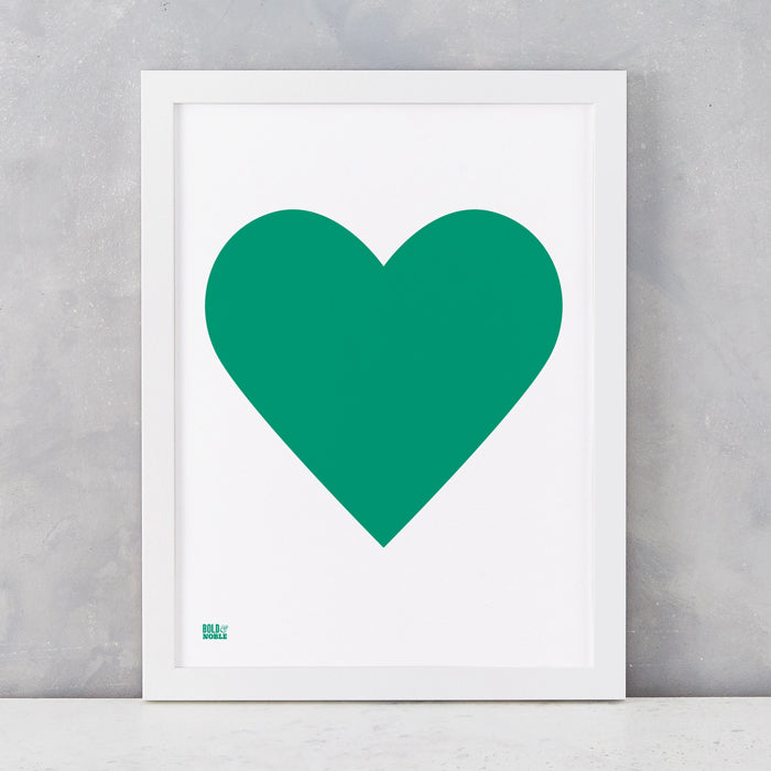 Love Heart Print, Emerald Green on White