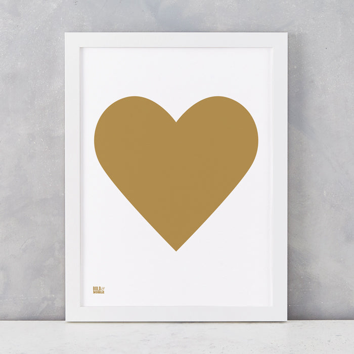 Love Heart Print, Gold on White