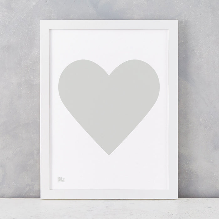 Love Heart Print, Light Grey on White