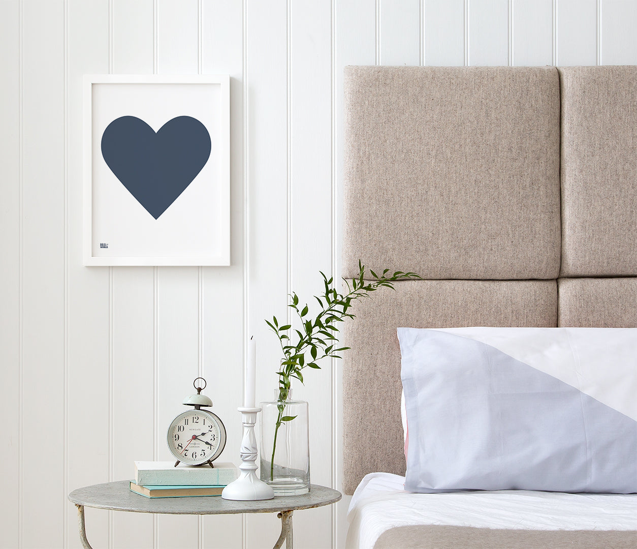 Love Heart Print, Navy on White