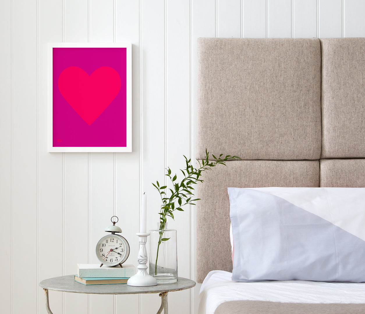 Love Heart Print, Neon Pink on Magenta