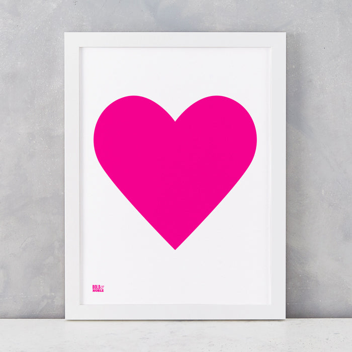 Love Heart Print, Neon Pink on White