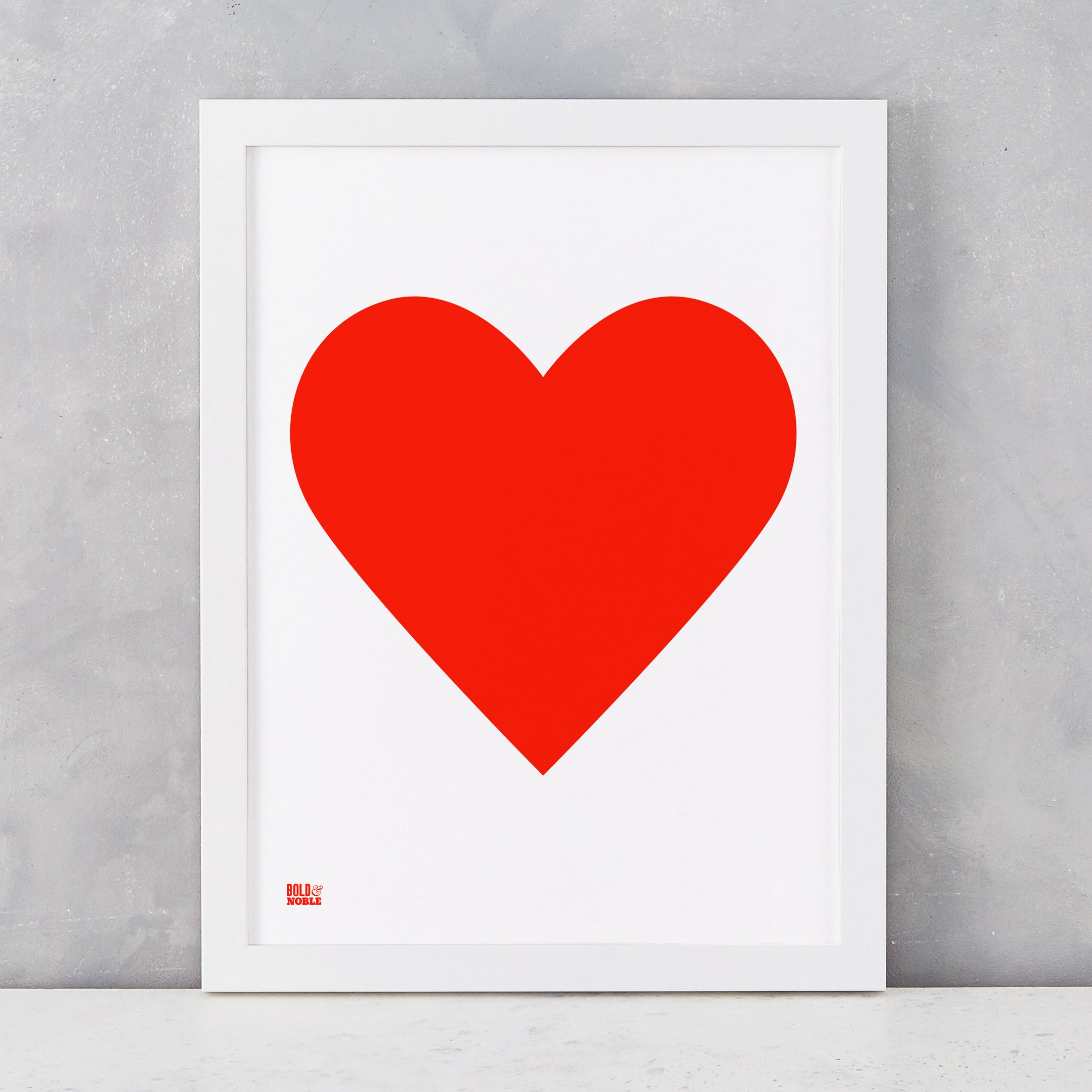 Love Heart Print, Neon Red on White